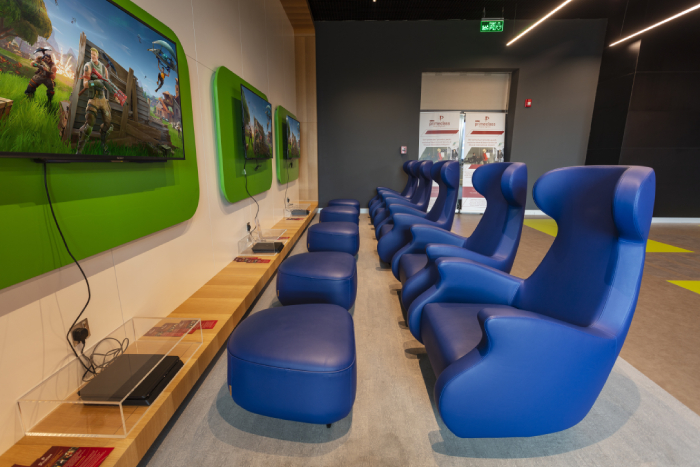 Innovative Gaming Zone at the Muscat Airport PrimeClass Lounge of Priority Pass.